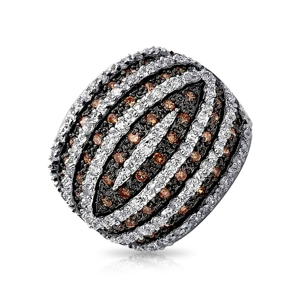 Tri Color Brown Black White CZ Banded Dome Pave Fashion Statement Ring Cubic Zirconia Rhodium Plated Brass