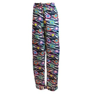 Women's Fleece Multi Pattern Pajamas Pants (Black)