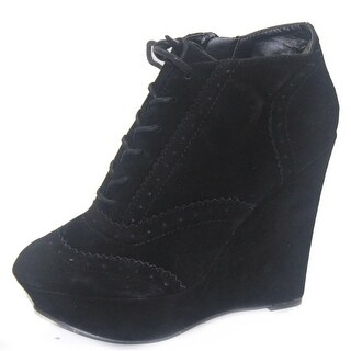 Women's Qupid Worthy-27 Oil Velvet Wedges Ankle Booties Fashion Shoes - black oil finish - 7 b(m) us