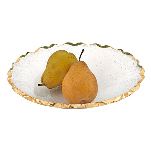 """Hand Decorated Gold Leaf Chiseled Edge 11"""" Straight Sided Glass Salad or Fruit Bowl"""