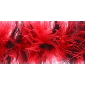 Red & Black - Marabou Feather Boa Tipped Medium Weight 72""