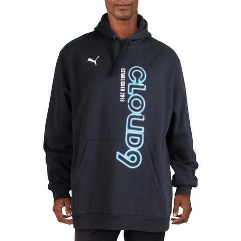Puma Mens Simulation Hoodie Fitness Running - Cotton Black/Hawaiian Ocean
