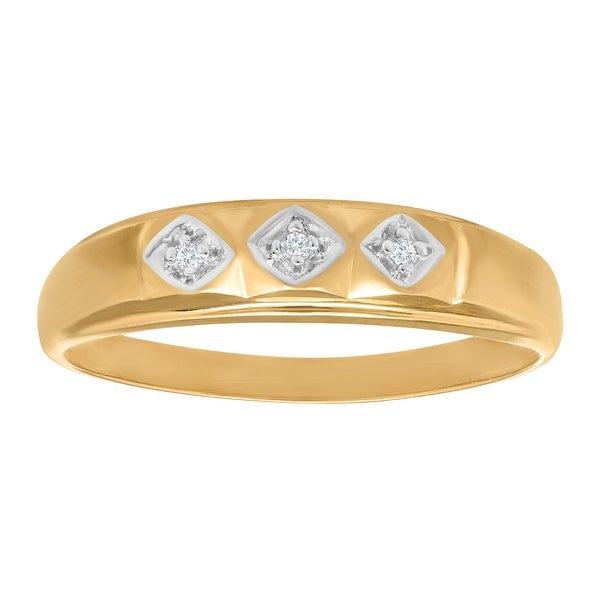 Men's Band Ring with Diamonds in 10K Gold