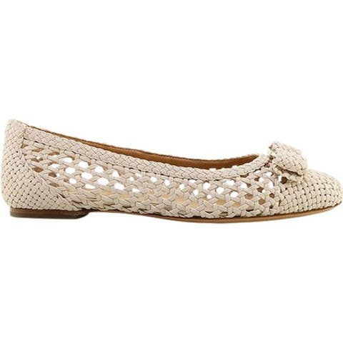Salvatore Ferragamo Women's Varina Woven Ballet Flat Nappa Bone Leather
