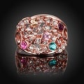 Rose Gold Plated Rainbow Multi-Color Ring - Thumbnail 3
