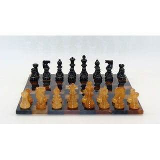 Black & Brown Basic Alabaster Chess Set - Multicolored