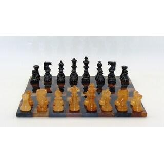 Black & Brown Basic Alabaster Chess Set - Multicolored