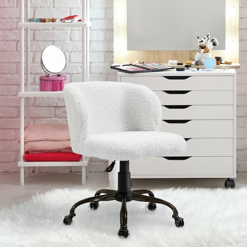 HOMCOM Swivel Accent Office Chair with Mid-Back Support, Padded Armrests, Adjustable Height and Bronze Wheels, White