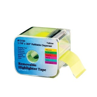 Lee Removable Wide Highlighter Note Tape with Dispenser, 1-7/8 X 393 in, Yellow