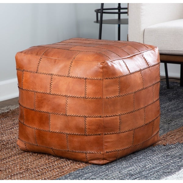 Cobbler Industrial Pouf Ottoman in Leather with Patchwork Stitching. Opens flyout.