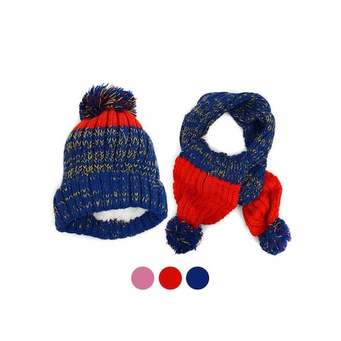 Boys and Girls Knitted Pom-Pom Beanie and Scarf Warm Winter Set - One Size