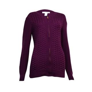 Charter Club Women's Braid-Knit Zip Sweater