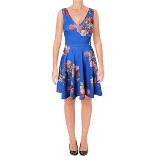 Aqua Womens Scuba Dress Floral Scuba