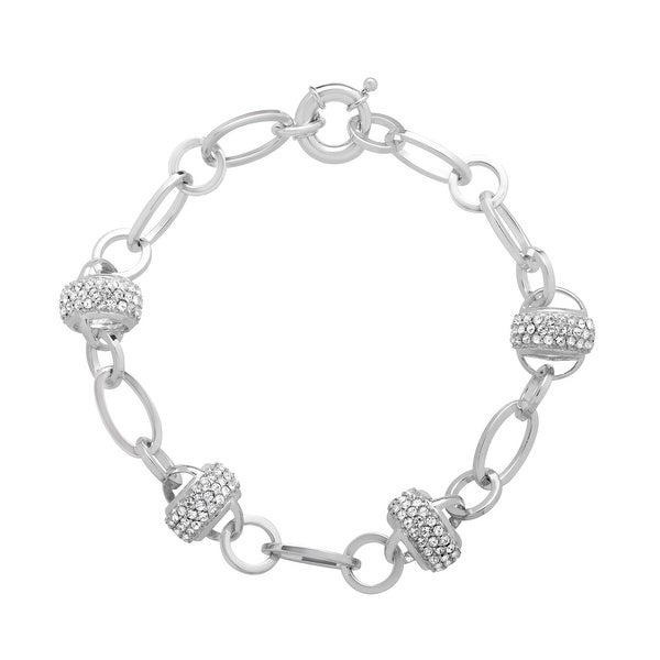 Crystaluxe Station Link Bracelet with Swarovski Crystals Beads in Sterling Silver - White