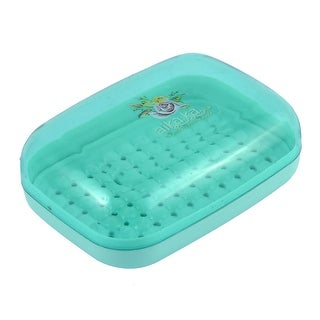 Plastic Case Bathroom Shower Soap Washing Container Box Plate Holder Cyan w Lid