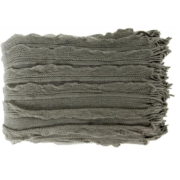 "50"" x 60"" Light Gray and Dark Gray Elegant Autumn Throw Blanket"