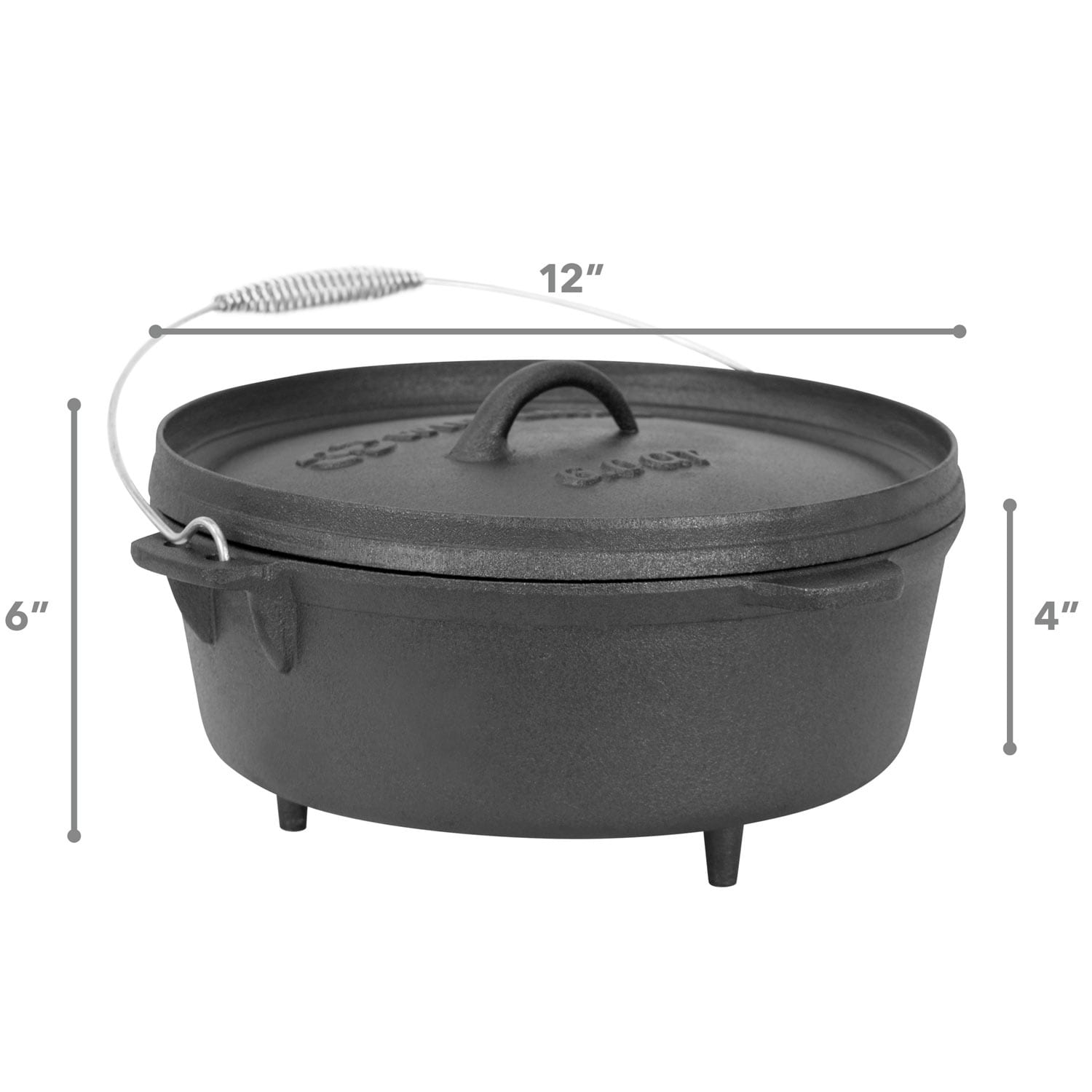 Winterial 6 Quart Cast Iron Camping Dutch Oven Camping Cookware Durable Cooking Overstock 11741240