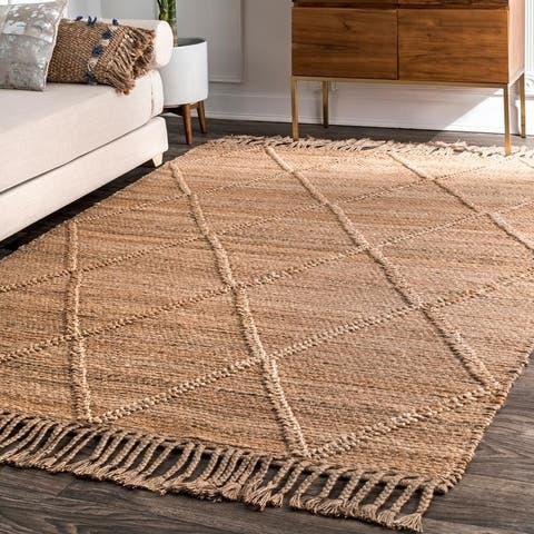 nuLOOM Natural Jute Handmade Flatweave Braided Casual Trellis Area Rug