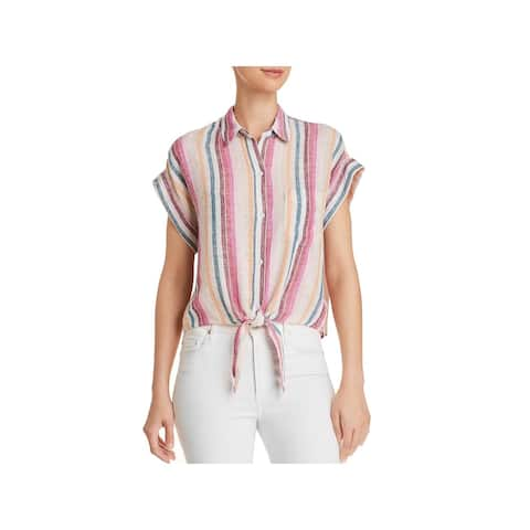 Rails Womens Button-Down Top Tie-Front Striped - M