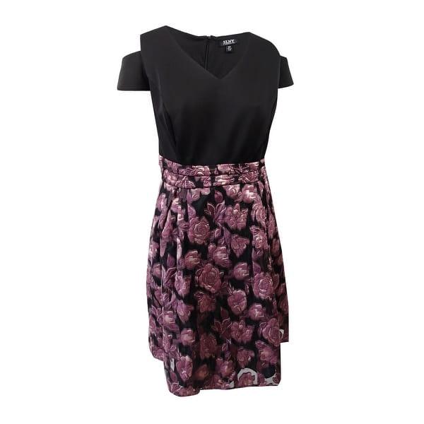 SL Fashions Women\'s Plus Size Cold-Shoulder High-Low Dress (24W, Black  Rose) - Black Rose - 24W