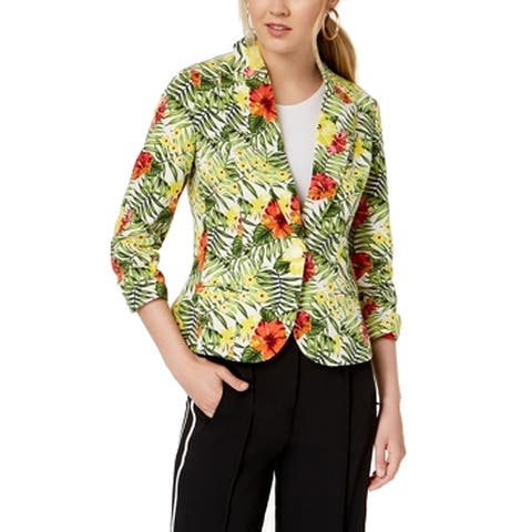 XOXO Yellow Multi Womens Size Small S Single Button Tropical Jacket