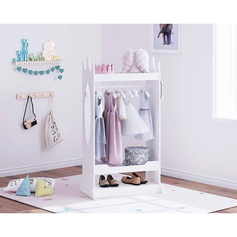 UTEX Kids Dress up Storage with Mirror,Costume Closet for Kids,Open Hanging Armoire Closet,Pretend Storage Closet for Kids