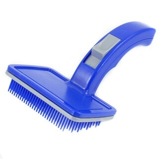 Unique Bargains Pet Dog Cat Self Cleaning Grooming Slicker Brush Blue