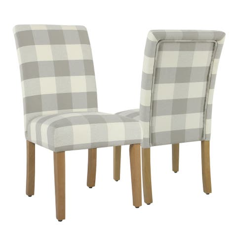 HomePop Parsons Dining Chair - Gray Plaid (set of 2)