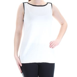 Womens Ivory Sleeveless Boat Neck Top Size M
