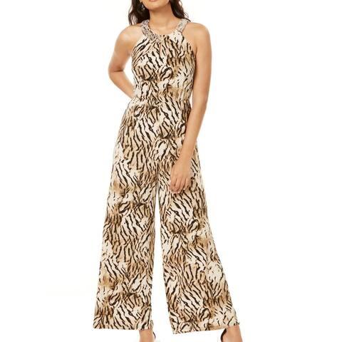 INC Women's Jumpsuit Brown Size Large L Tiger Stripe Embellished Halter