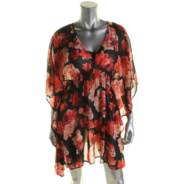 ba32fd0aa209a Shop Calvin Klein Womens Floral Print Caftan Dress Swim Cover-Up - Free  Shipping On Orders Over $45 - Overstock - 17655760