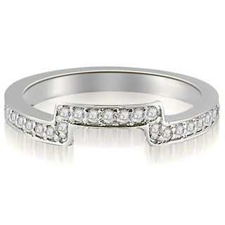 0.25 CT.TW Round Cut Diamond Curved Wedding Band in 14KT Gold