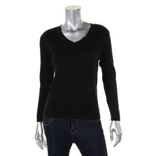 Karen Scott Womens Petites Pullover Sweater Ribbed Knit V-Neck