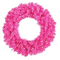 "24"" Pre-Lit Sparkling Hot Pink Tinsel Artificial Christmas Wreath - Pink Lights"