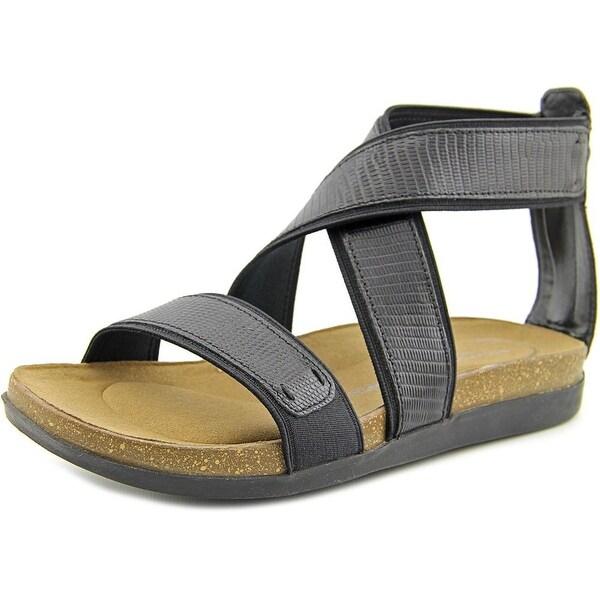 Rockport Romilly Gore Zip Sandal Women Black Lizard Sandals