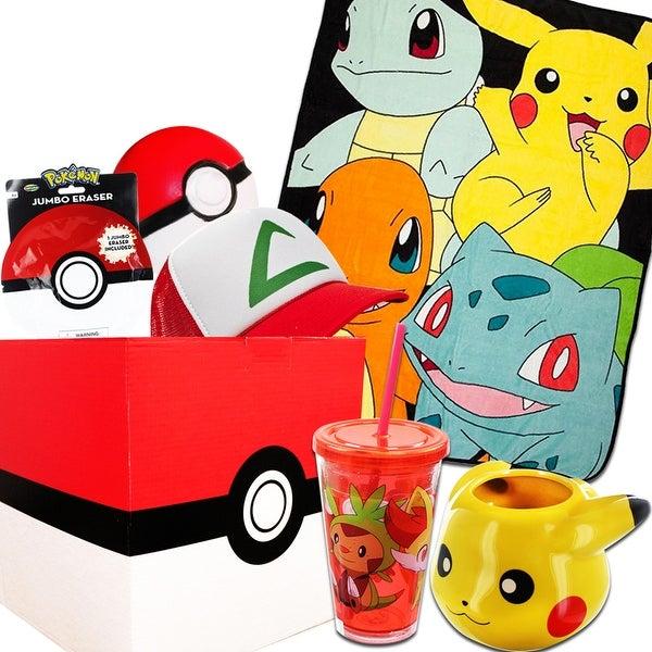 Pokemon Gift Box with Pokemon Character Fleece Blanket, Snapback Hat & More - multi
