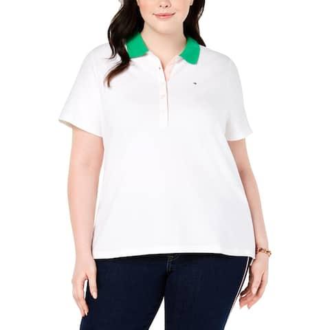 Tommy Hilfiger Womens Plus T-Shirt Polo Logo - White - 2X