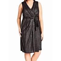 City Chic Gray Women's Size 14 Plus Surplice Neck Wrap Dress