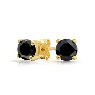 Bling Jewelry Black Round CZ Gold Plated Studs 925 Silver 7mm