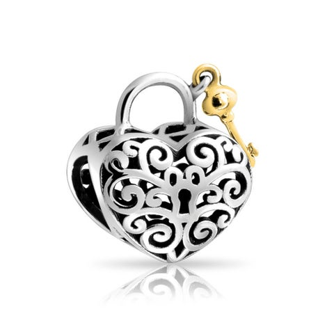 Bling Jewelry Gold Plated Heart Shaped Lock and Key Filigree Charm Bead .925 Sterling silver
