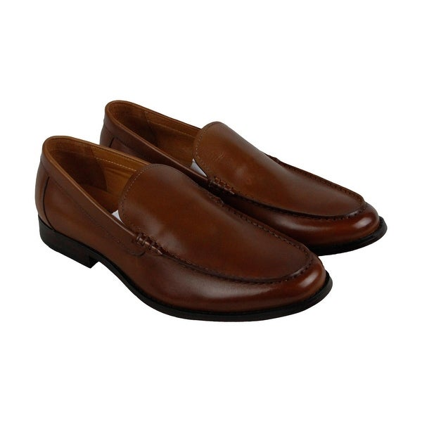 Kenneth Cole New York Bright Idea Mens Brown Leather Casual Dress Loafers Shoes