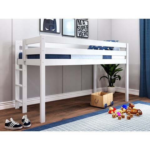 JACKPOT Contemporary Low Loft Twin Bed with End Ladder - 49 1/4 high x 80 wide x 41 3/4 inches deep