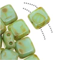 CzechMates Glass 2-Hole Square Tile Beads 6mm - Opaque Pale Turquoise Picasso