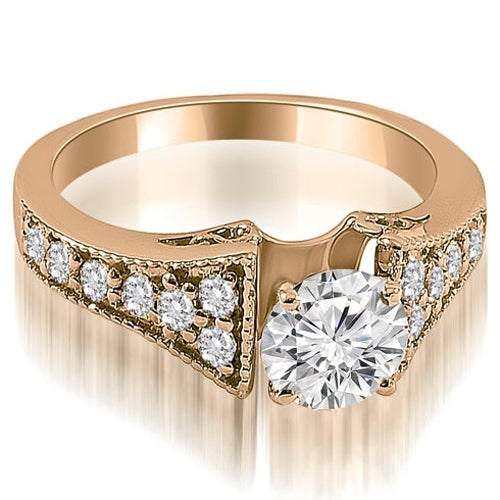 1.25 cttw. 14K Rose Gold Vintage Cathedral Round Cut Diamond Engagement Ring