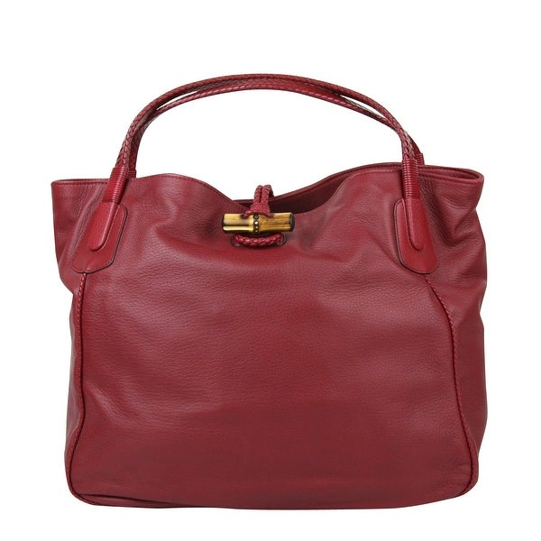 1698a336c0eeff Shop Gucci Bamboo Red Leather Soft Deer Large Hip Tote Bag 338978 ...