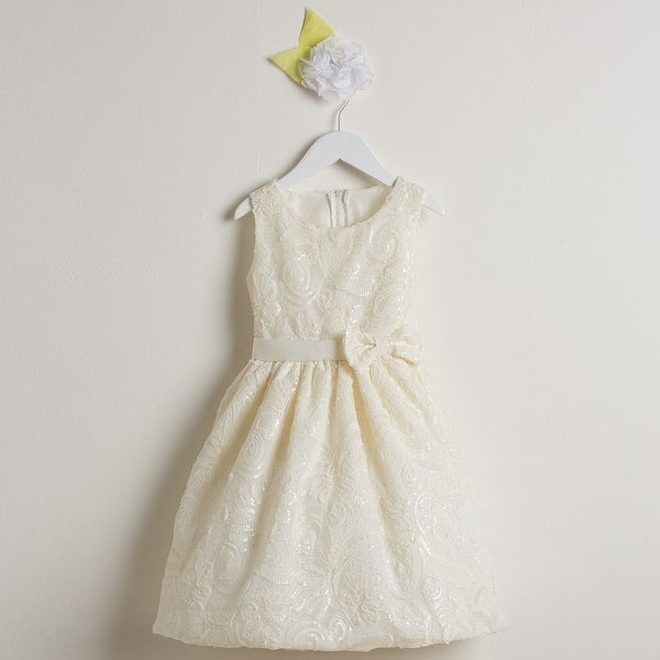 9093980a685 Shop Sweet Kids Girls Ivory Sequin Ribbon Mesh Occasion Easter Dress 7-12 - Free  Shipping Today - Overstock.com - 18168321