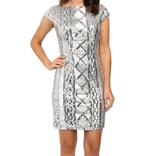 7d68a3629f Adrianna Papell NEW Silver Women 16 Sequin Short-Sleeve Sheath Dress