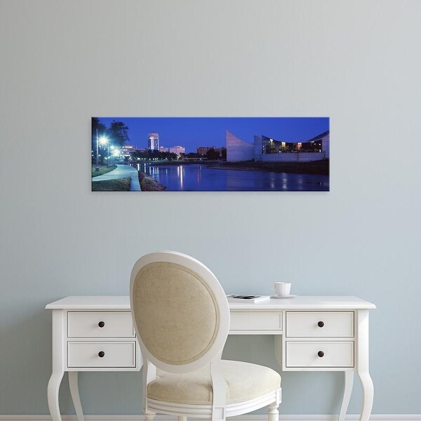 Easy Art Prints Panoramic Image 'Downtown Wichita viewed from the bank of Arkansas River, Wichita, Kansas' Canvas Art