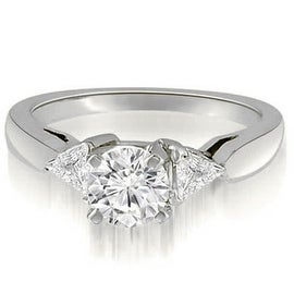 0.80 cttw. 14K White Gold Round And Trillion 3-Stone Diamond Engagement Ring