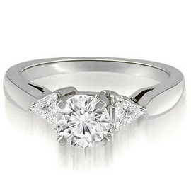 1.05 cttw. 14K White Gold Round And Trillion 3-Stone Diamond Engagement Ring